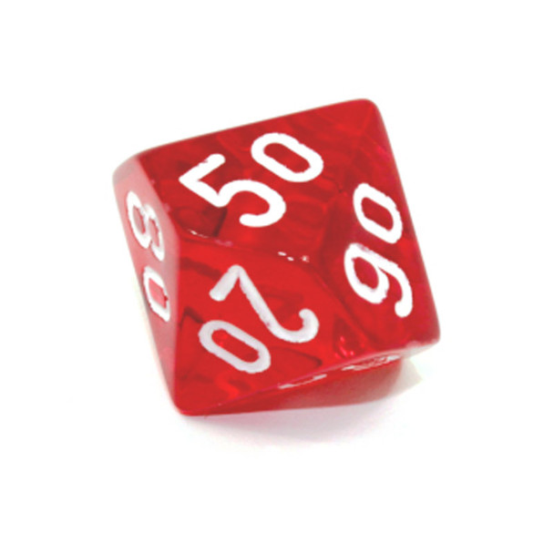 d10 - Transparent red 10-sided tens dice