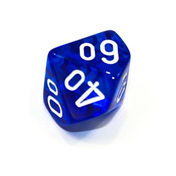 d10 - Transparent blue 10-sided tens dice
