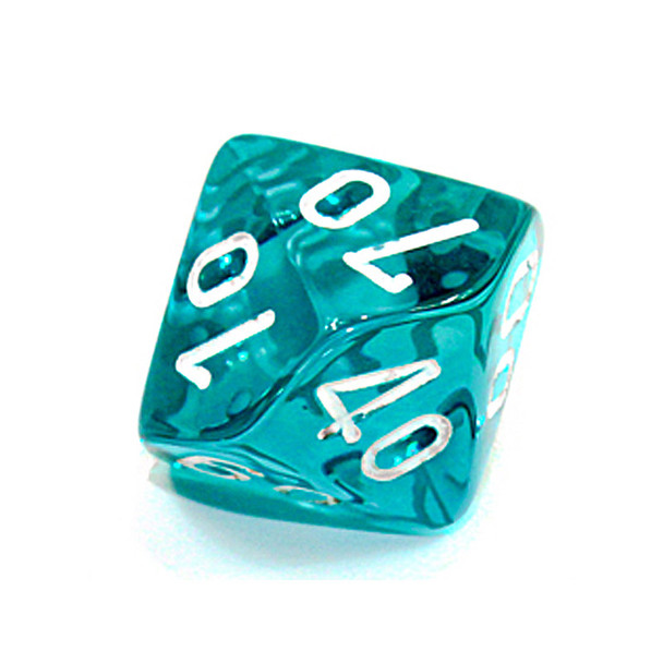d10 - Transparent teal 10-sided tens dice