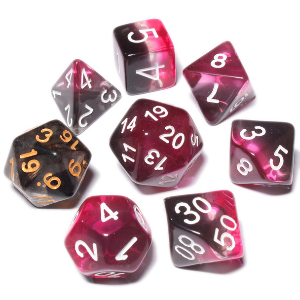 Layered Dice Set - Black, Pink, and Clear