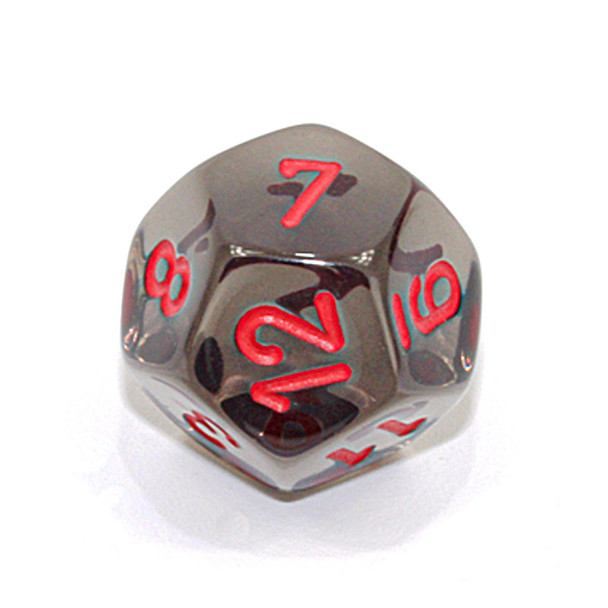 d12 - Transparent smoke 12-sided dice with red numbers