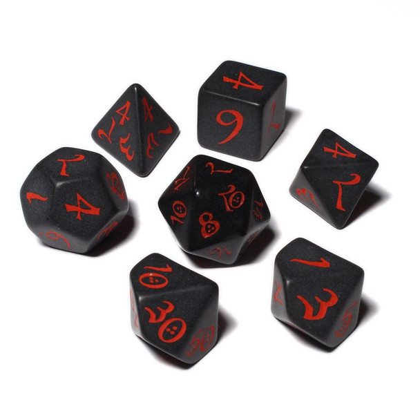 Classic Dice Set - Opaque - Black with Red