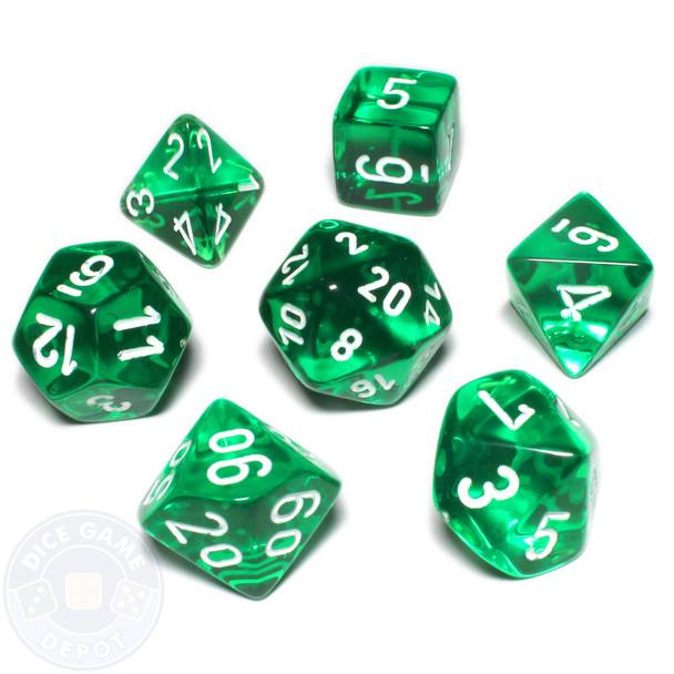 Dice set - Transparent green