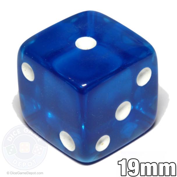 Blue transparent 19mm dice