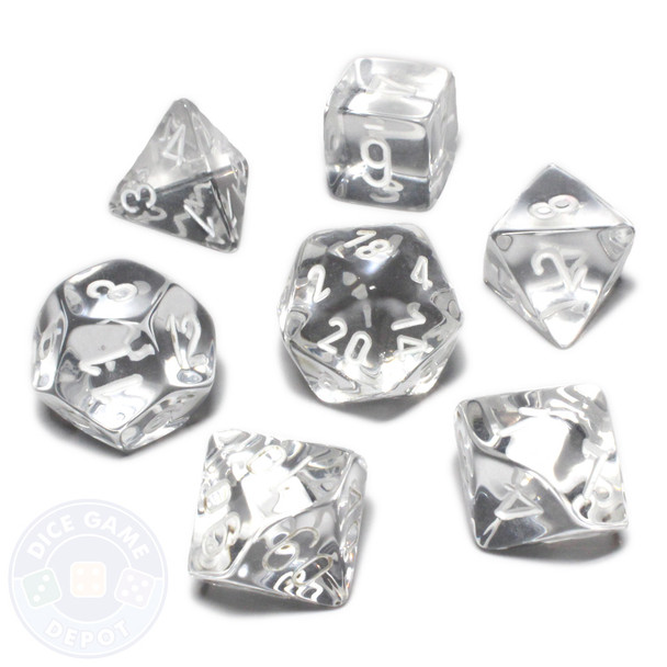 Transparent dice set - Clear with white numbers