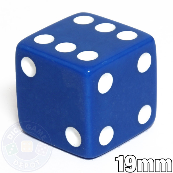 Blue Opaque Dice - 19mm in size