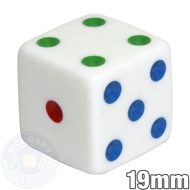 19mm Opaque Dice - White with Multicolored Spots