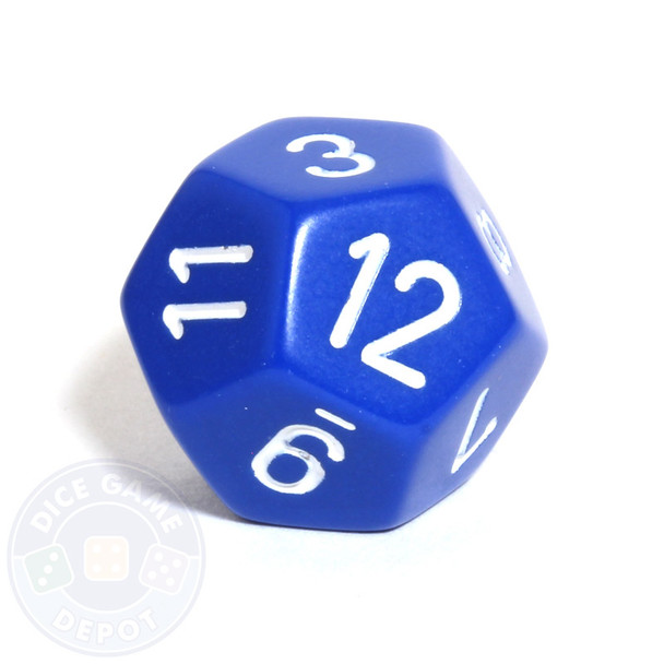 Opaque blue 12-sided dice
