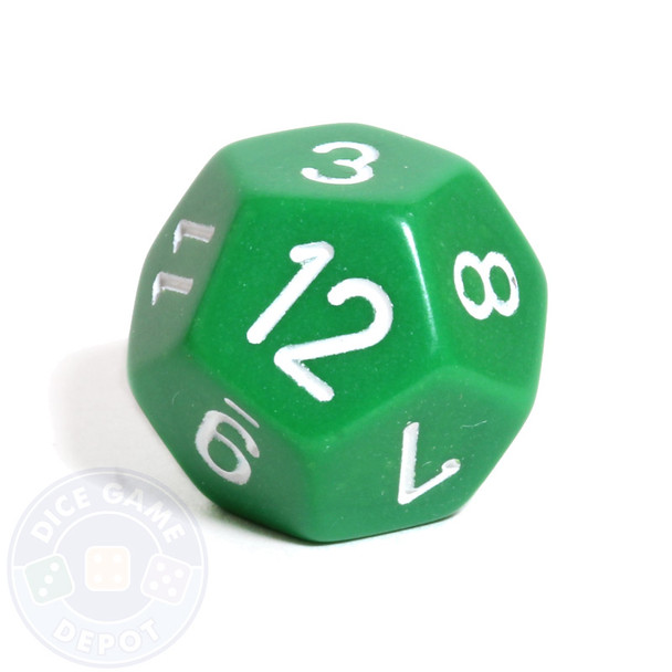 d12 - 12-sided opaque green dice