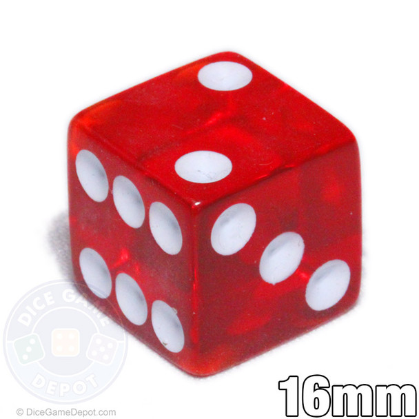 Red transparent 6-sided dice