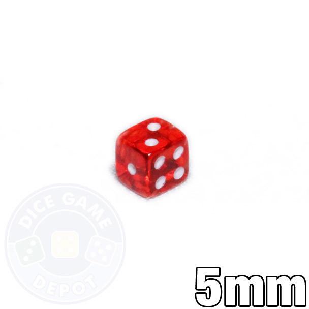 Transparent red tiny dice - 5mm