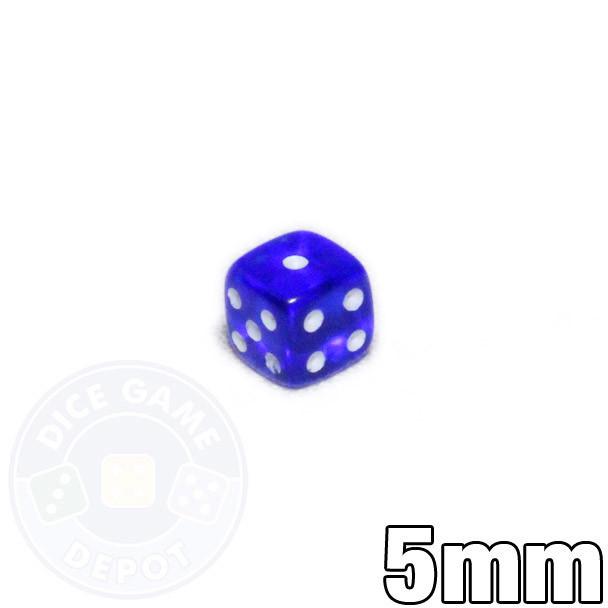 Tiny transparent royal blue dice - 5mm