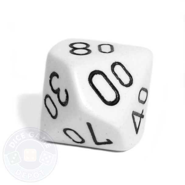 White d10 percentile tens dice