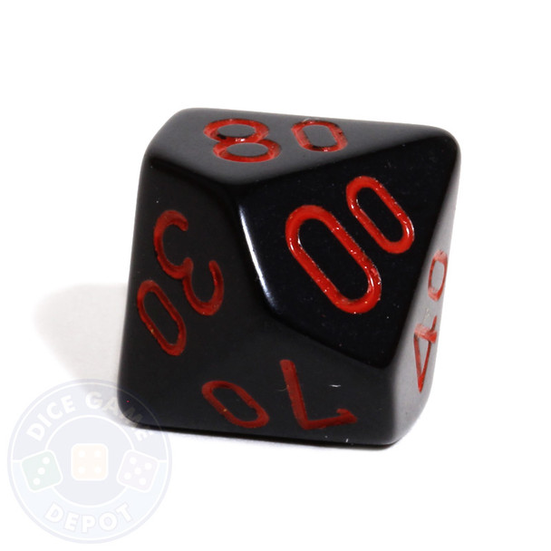 d10 percentile tens dice - Black with red numbers