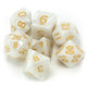 Pearlized Polyhedral Dice Set in Velvet Pouch - Forbidden Treasure