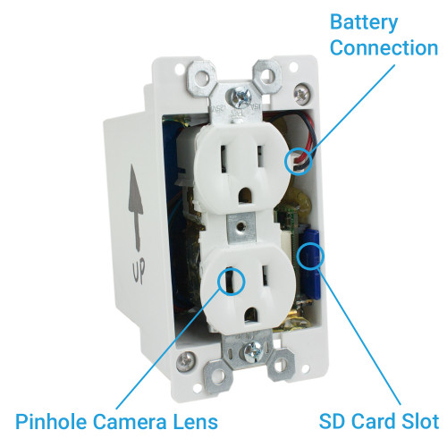 Battery Powered Outlet >> 720p Hd Motion Activated Electrical Outlet Hidden Camera With Up To 90 Day Battery Life