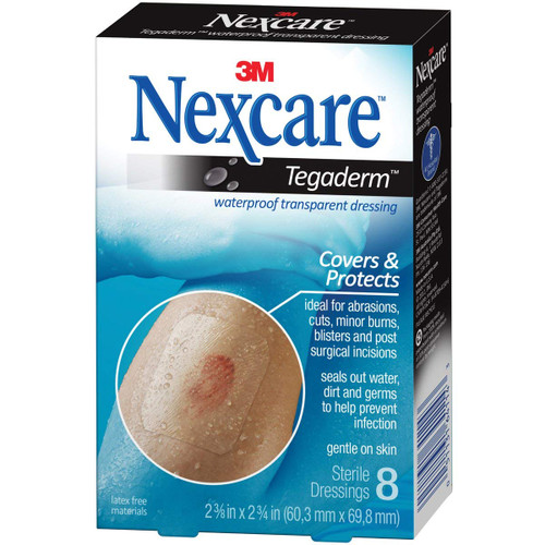 3M Nexcare Tagaderm Trnsp Size 8Ct - Waterproof Transparent Dressing 8Ct 2 3/8X2 3/4