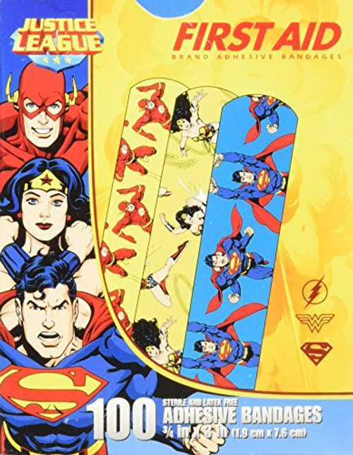 "Derma Sciences - Justice League Adhesive Bandage, Superwoman, Wonderwoman & Flash, 1.5X 3"", 100/Bx"