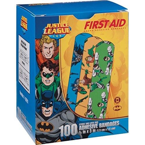 "Derma Sciences - Justice League Adhesive Bandage, Batman, Green Lantern & Aquaman, 1.5 X 3"", 100/Bx"