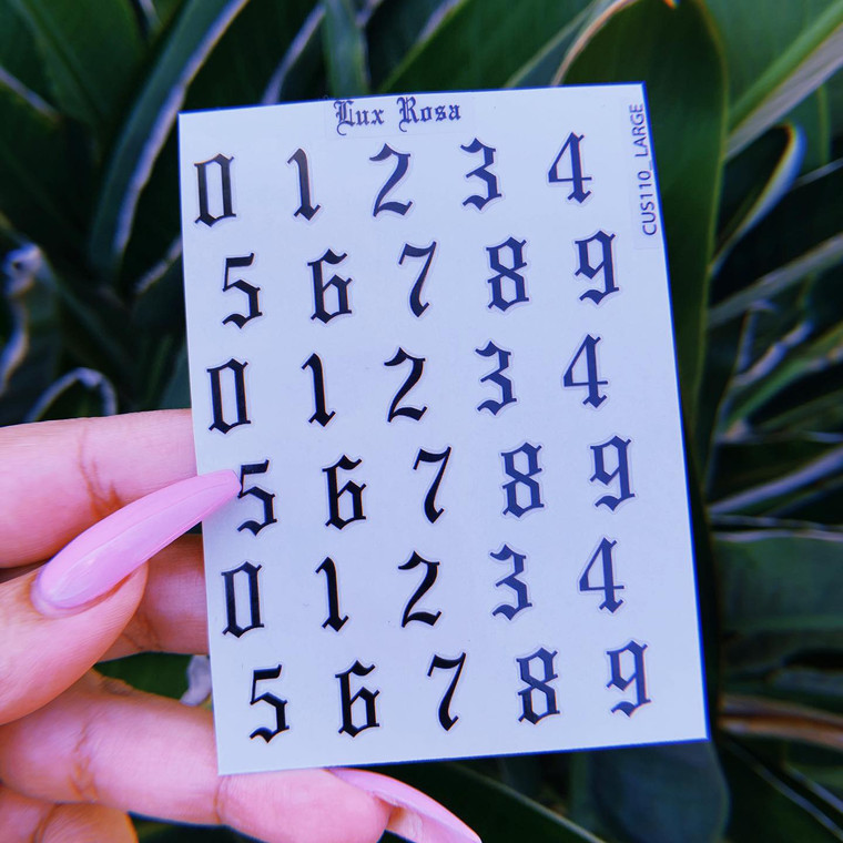 Lux Rosa Old English Number Nail Stickers BLACK (Large)