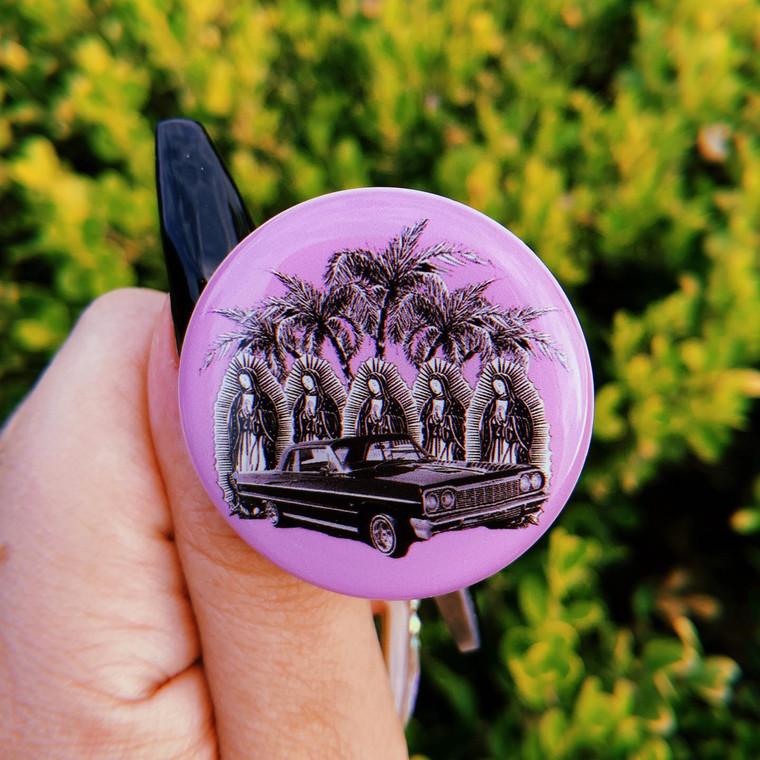 Palm Trees & Impalas Lavender Pop Grip (Drop Glue Style)