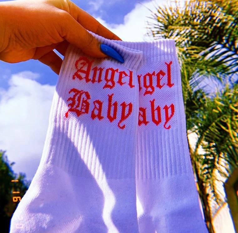 Angel Baby Socks (Neon Pink/White)