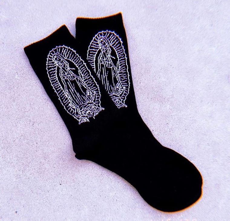 Lux Rosa Virgencita Socks (Black/White)