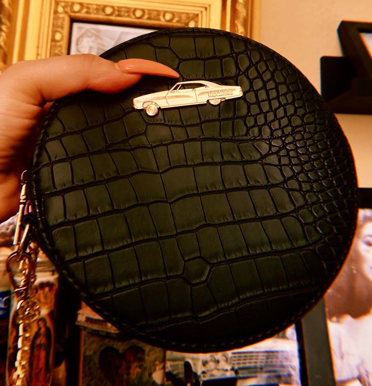 Boulevard Night Round Crocodile Chain Bag (Black)