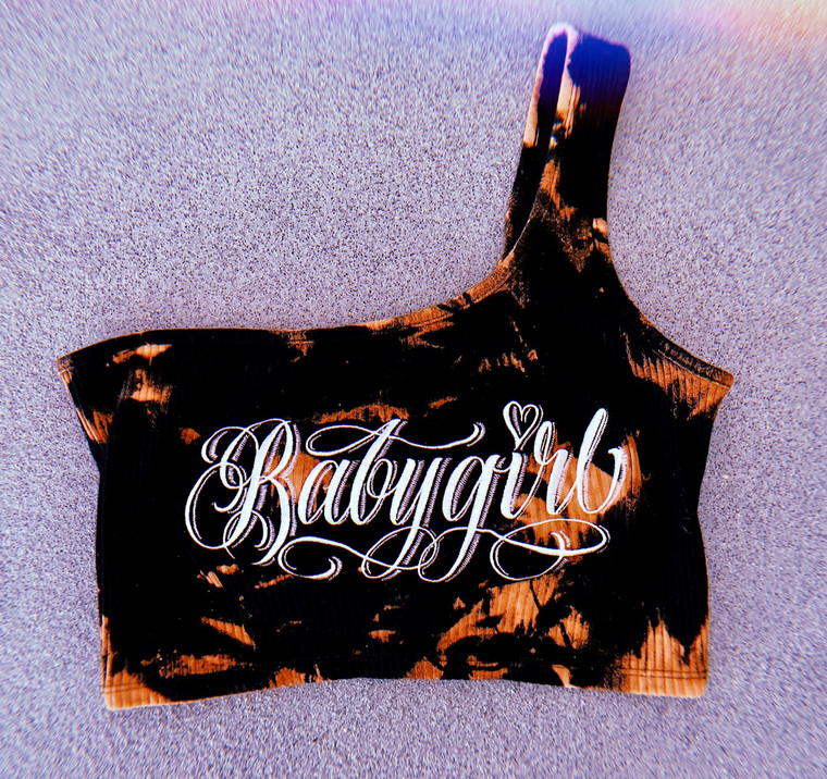 Babygirl Hand Dyed Cut & Sew Embroidered One Shoulder Tank PREORDER