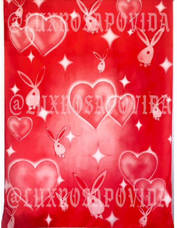 'Heart Of A Player' Airbrushed Glamour Shot Backdrop (RED) (Extra Large)