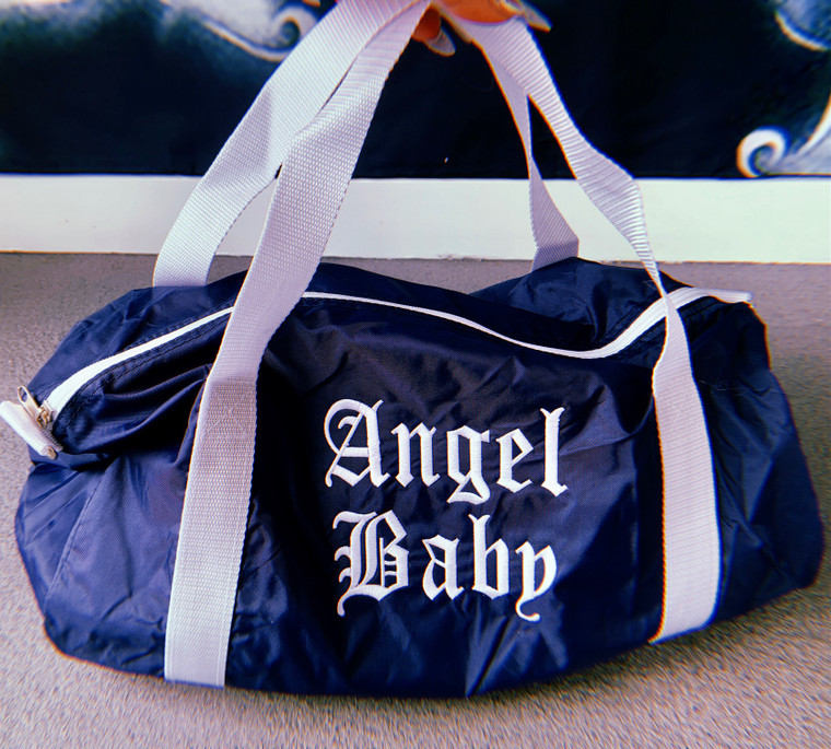 Lux Rosa Angel Baby Embroidered Nylon Duffle Bag (NAVY)
