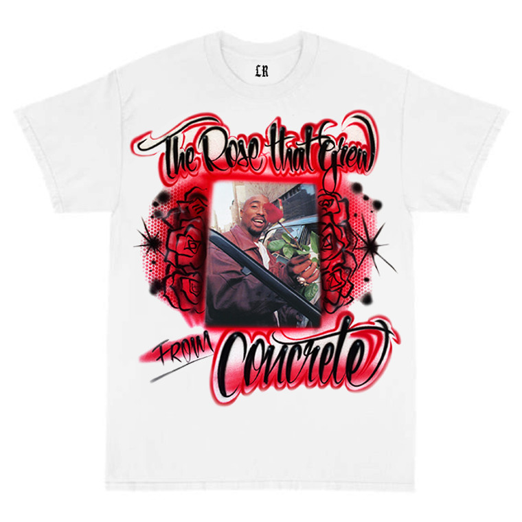 Lux Rosa Pac 'Rose That Grew' Airbrushed Shirt (White) PREORDER