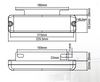 BR203ARW Line Drawing. Dimensions 229 x 60 x 32mm. Ultimate LED