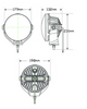 Line Drawing - HL198 - Driving Lamp 45 Watts 7.8inch Twin Pack Multi-Volt. AL. Ultimate LED.