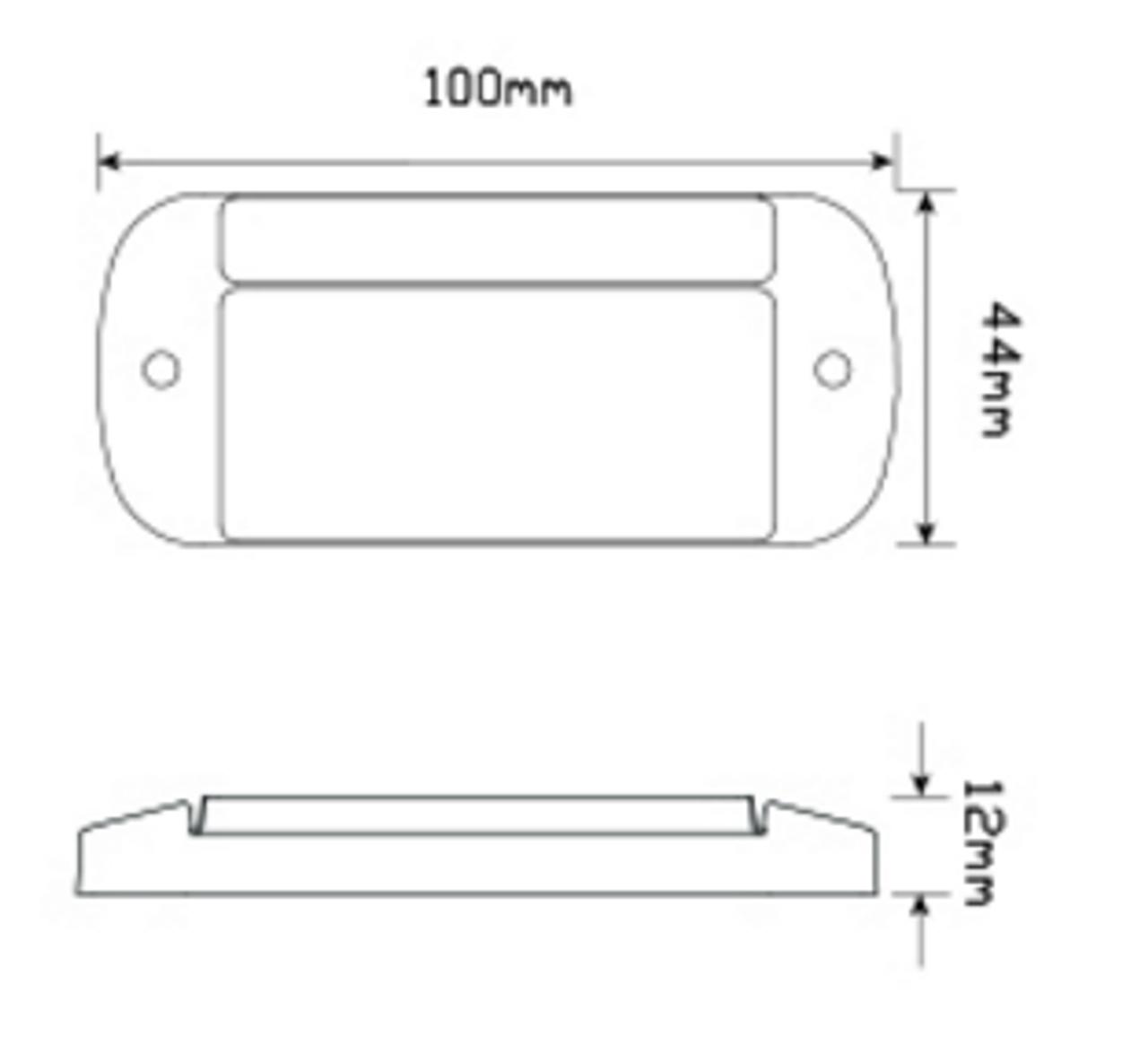 Line Drawing - 44AME - Side Marker Light with Reflector Multi-Volt 12v & 24v Single Pack. AL. Ultimate LED.