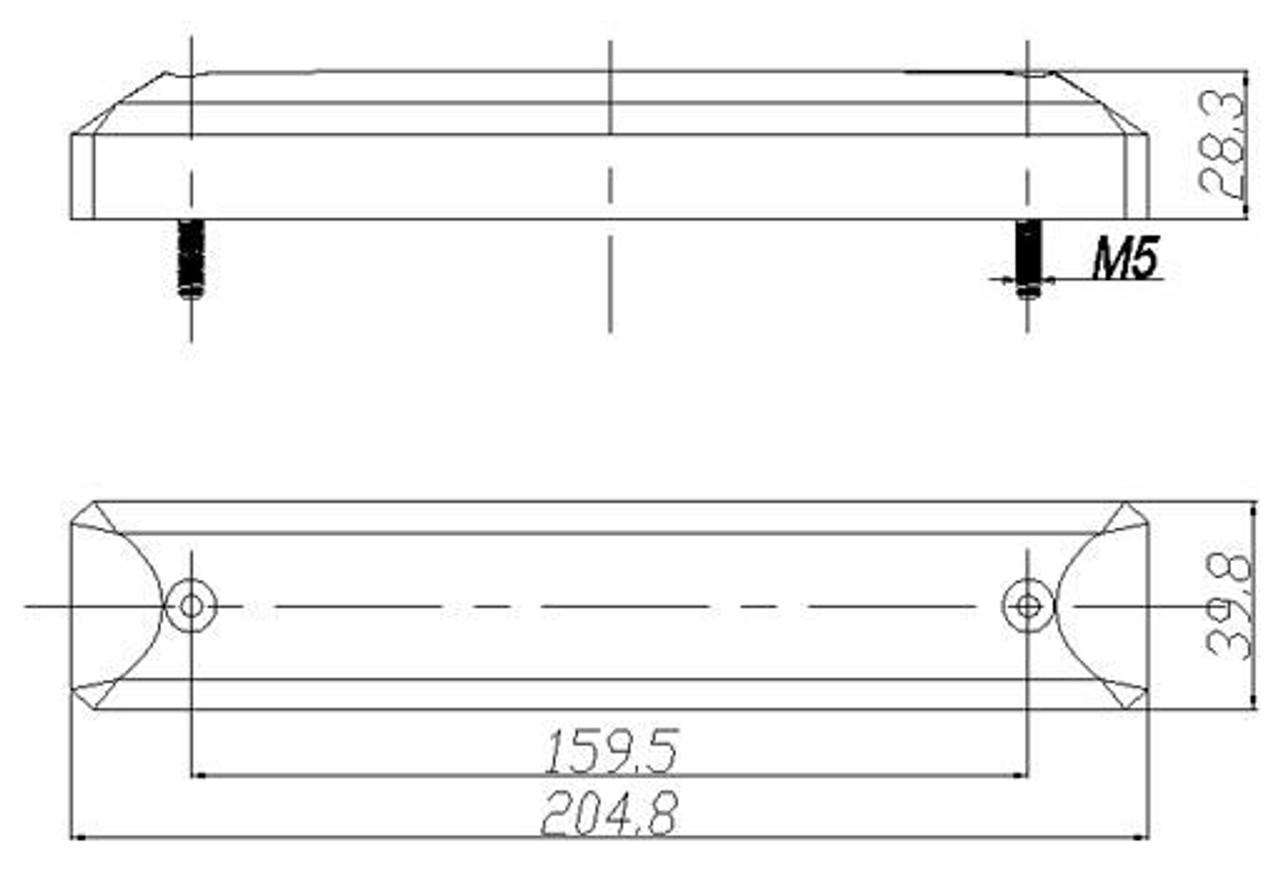 Line Drawing Dimensions 205 x 40 x 28mm