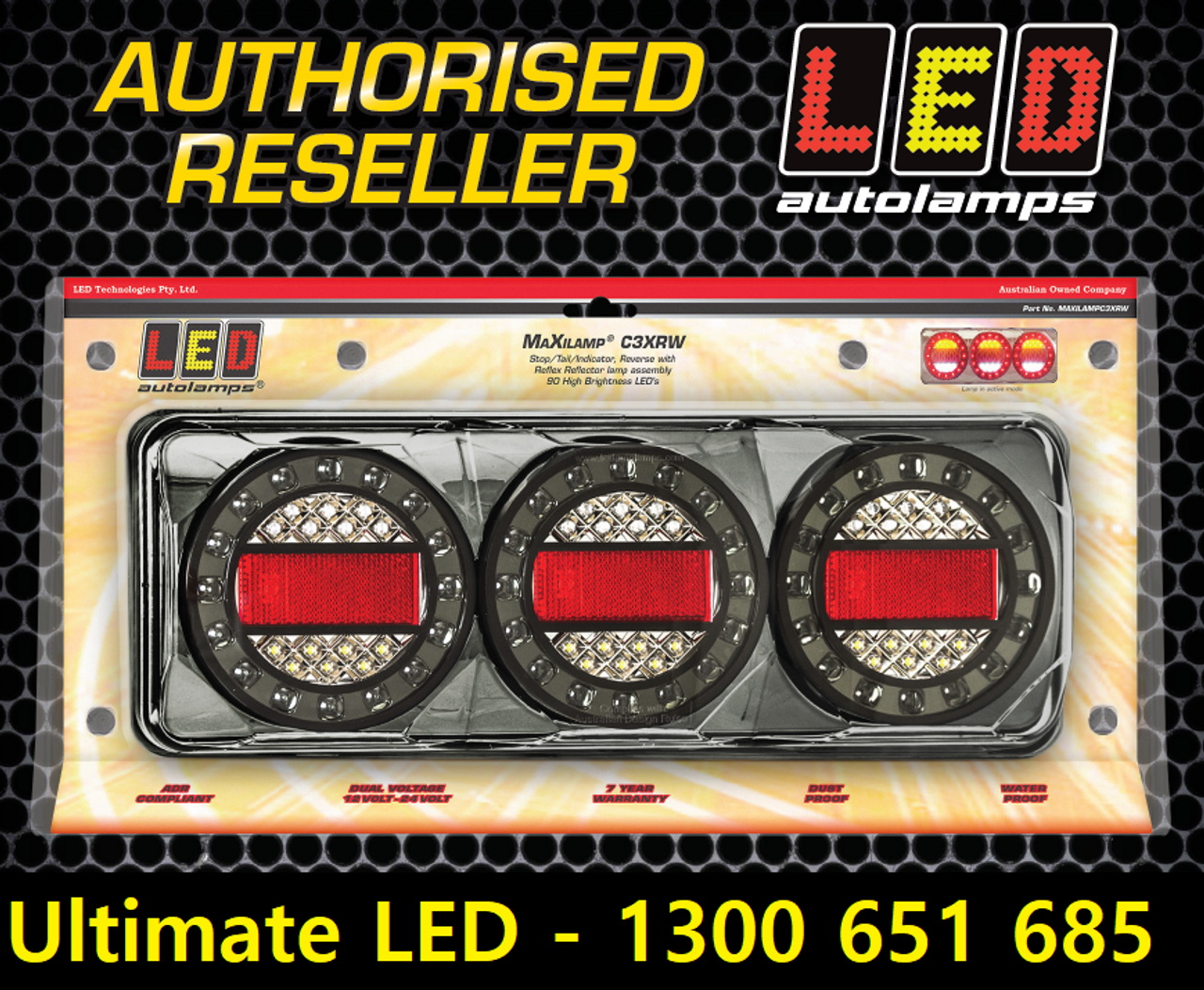 Genuine Maxilamp, LED Tail Light. Stop, Tail & Indicator with Reflector Light Multi-Volt 12 & 24 Volt Clear Lens Round Reflector. Single Pack. LED Auto Lamps. MAXILAMPC1XCE. ADR Approved. 7 Year Warranty