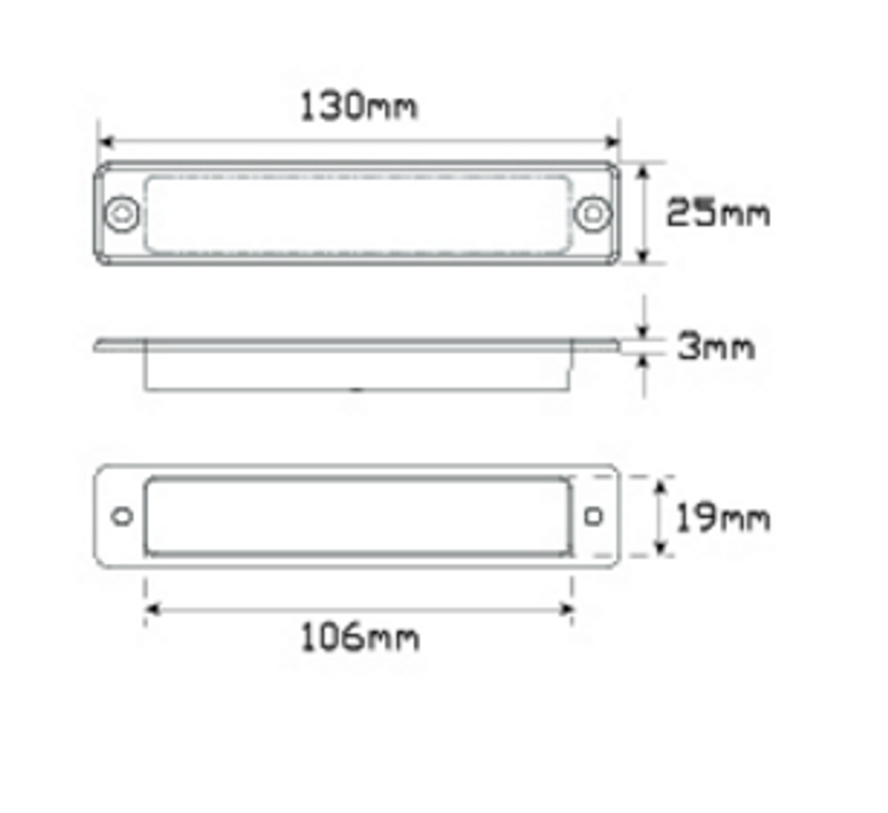 25 Series Line Drawing - 25R12  Twin Function. Stop & Tail 12v  Single Pack. AL. Ultimate LED.