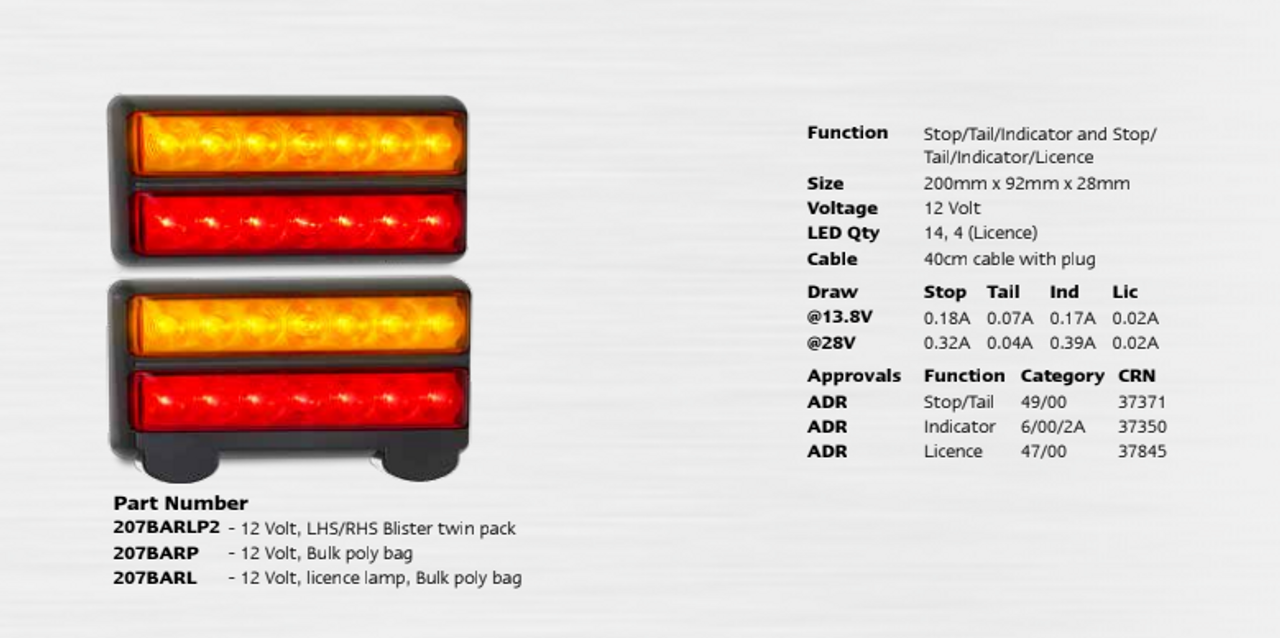 Data Sheet - 207BARLP2 - Stop, Tail, Indicator & Licence Plate Lamp 12v Twin Pack. Autolamps. Ultimate LED.