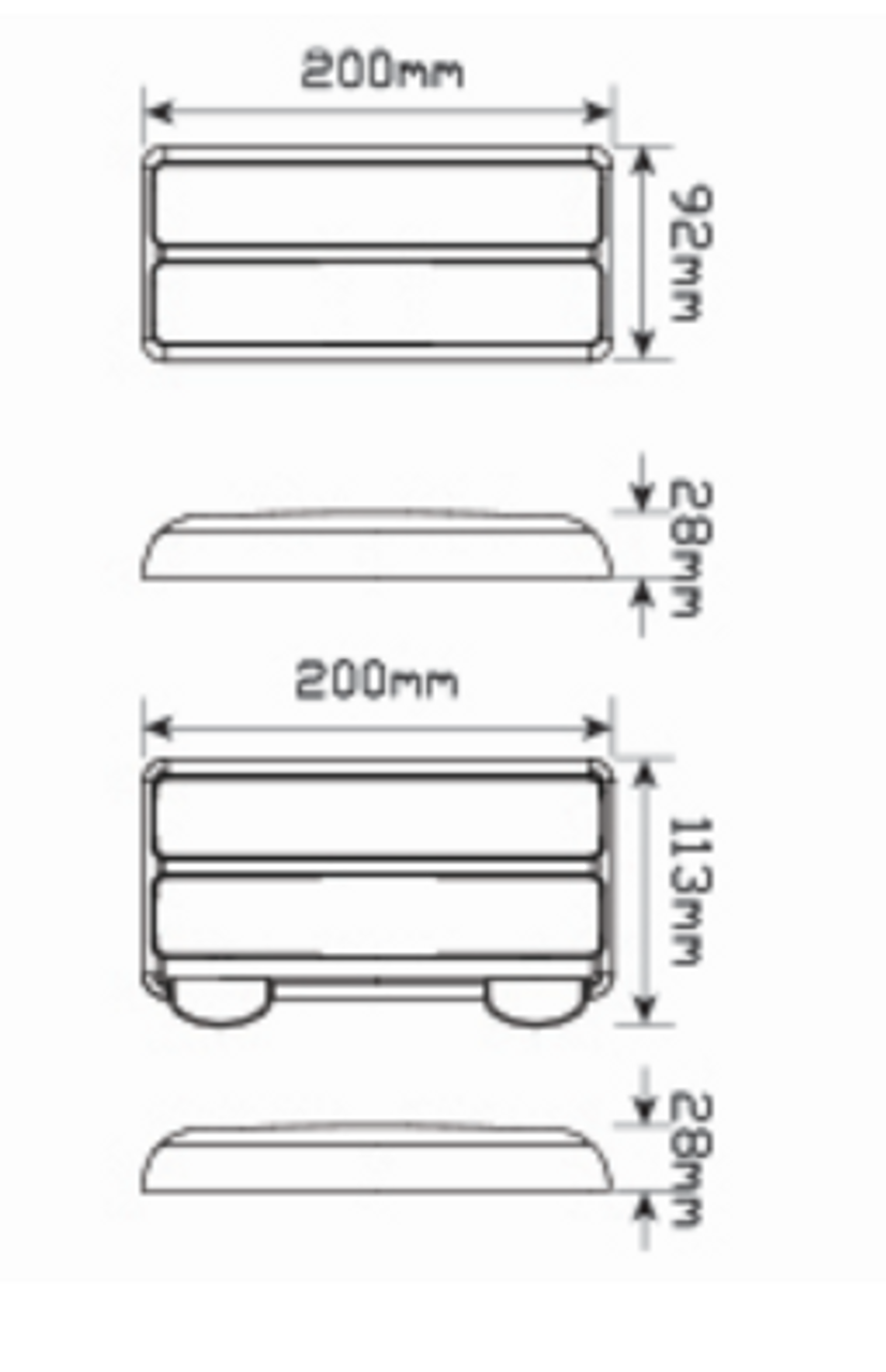 Line Drawing 207BARLP2 - Stop, Tail, Indicator & Licence Plate Lamp 12v Twin Pack. Autolamps. Ultimate LED.