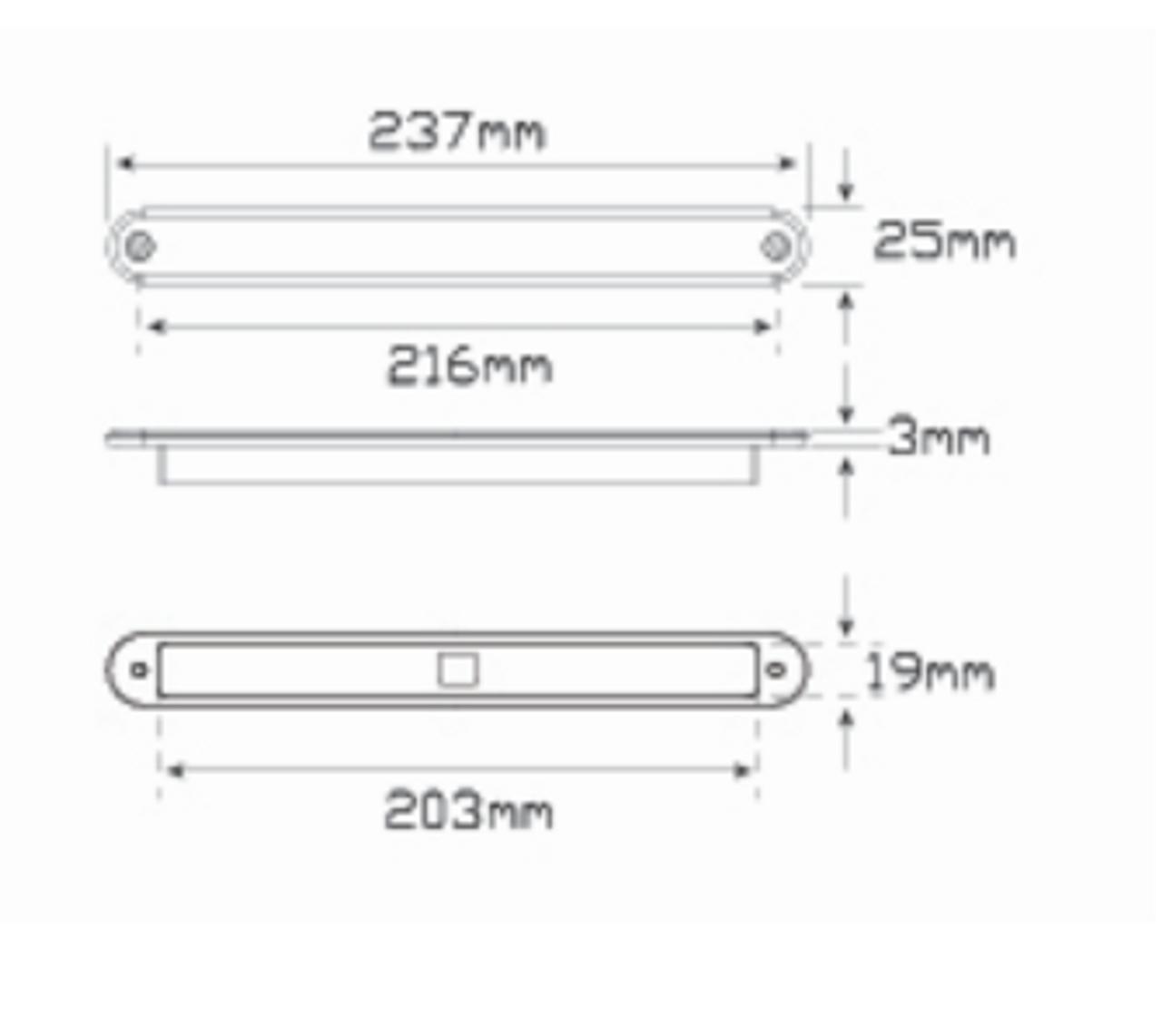 235R12 Stop / Tail 12v Single light Line Drawing. - 235R12 Stop / Tail 12v Single light Coloured Lens. Twin Function. AL Ultimate LED.