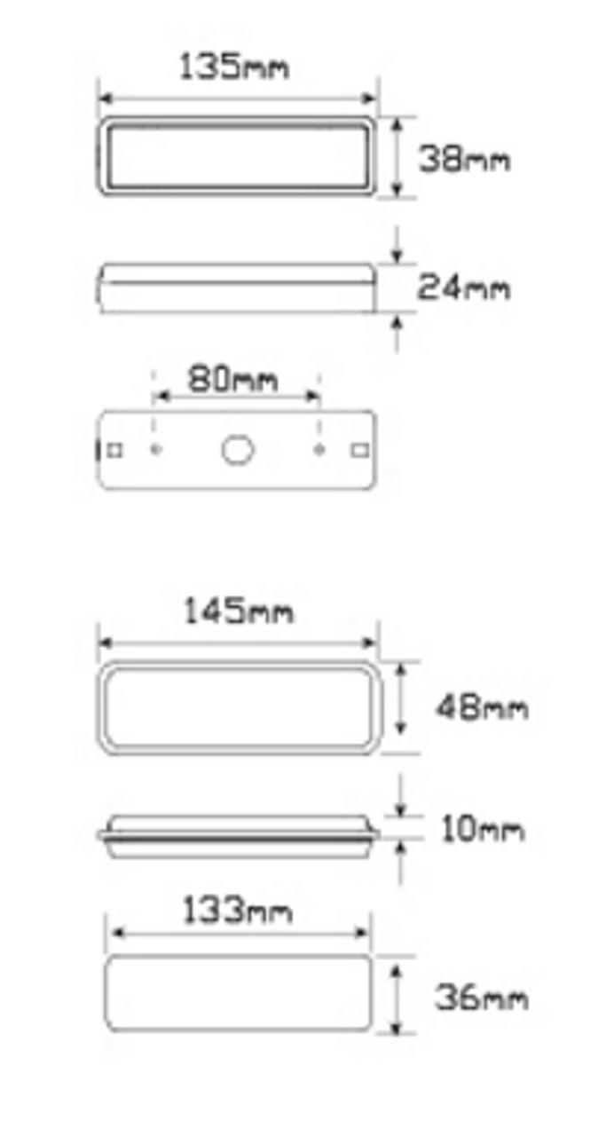 12//24 V LED Autolamp 135ARM Slim Combination Lamp