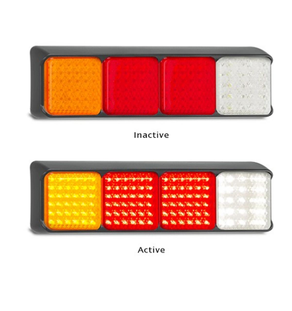 AL1723  80BARRWM Stop - Tail - Indicator - Reverse Light Quad Bar Light  Multivolt 12-24v - Black Housing Red - Amber - Clear Lens & Red - Amber -