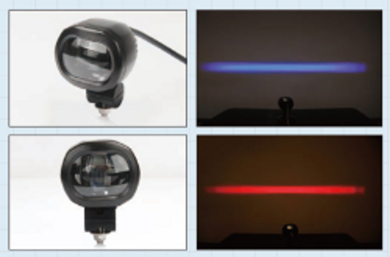 Red or Blue, Warning Safety Warehouse light. (Beam Pattern) Create a NO Go Zone. Ultimate LED. Red is the better performing light.