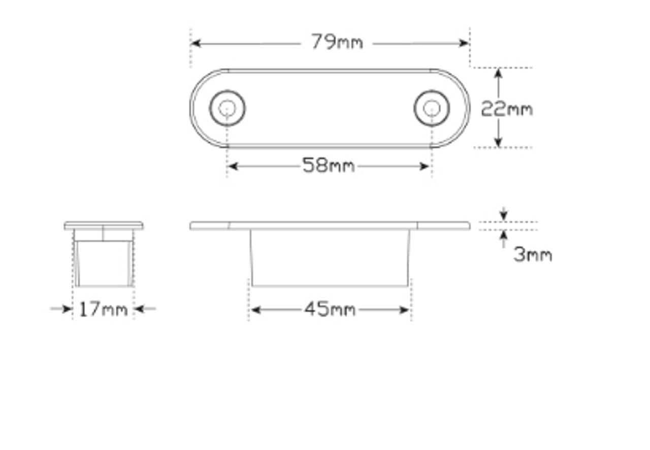 Line Drawing - 7922WM2 - White Front Marker LED Light Multi-Volt 12v & 24v. Flush Mount Twin Pack Clear Lens & White LED. LED Auto Lamps.  Ultimate LED.