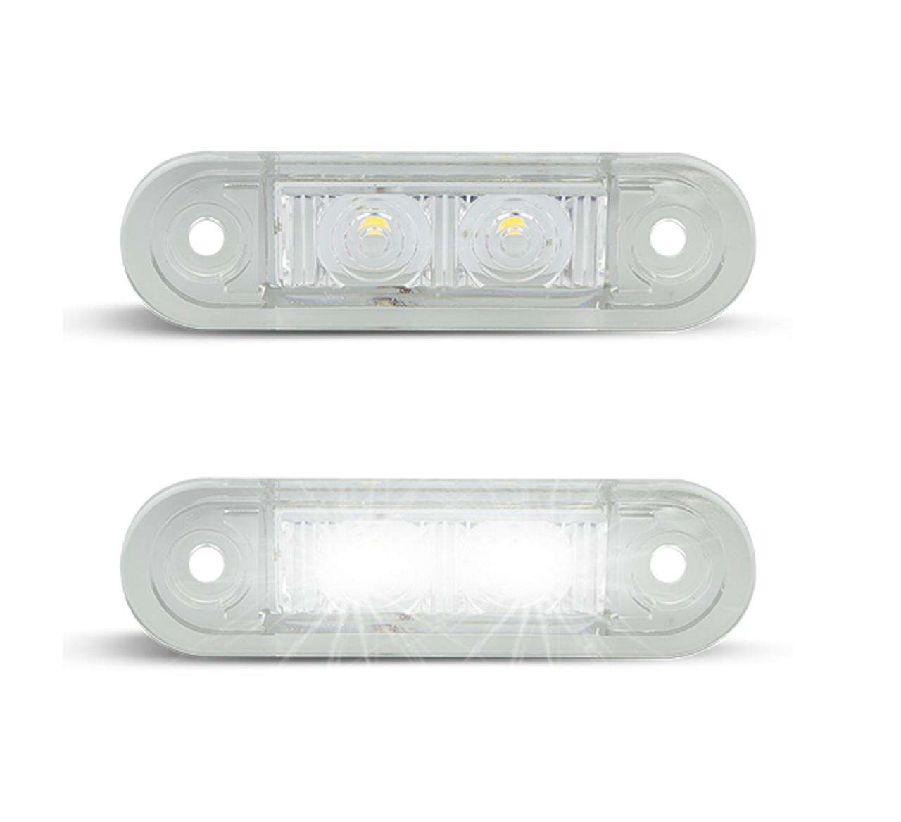7922WM2 - White Front Marker LED Light Multi-Volt 12v & 24v. Flush Mount Twin Pack Clear Lens & White LED. LED Auto Lamps.  Ultimate LED.