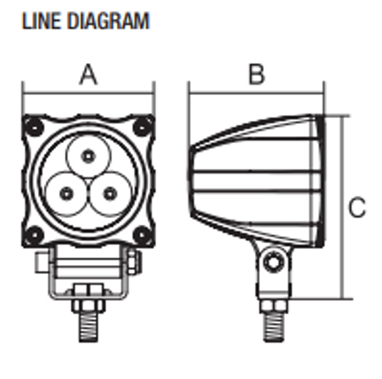 Line Drawing- RWL215F - 2.5 Inch Square LED Flood Work Light. Multi-Volt 10v & 30v. 15 Watt. RoadVision. Ultimate LED.