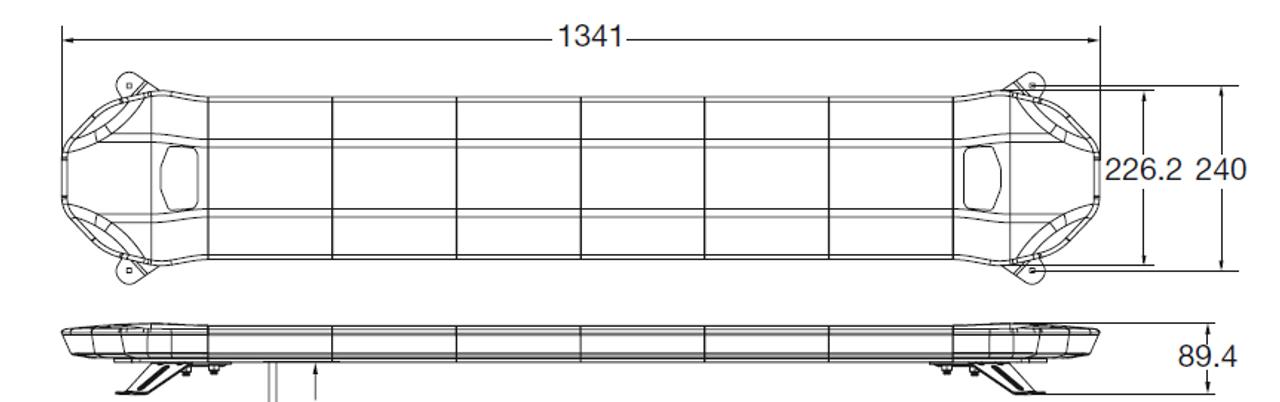 Line Drawing - Amber Low Profile LED Light Bar. 53 Inch, 100 Watt. Class 1. Dimensions - 1341 x 227 x 90mm. Ultimate LED