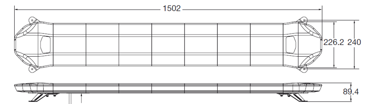 Line Drawing - Amber Low Profile LED Light Bar. 59 Inch, 111 Watt. Class 1. Dimensions - 1502 x 227 x 90mm. Ultimate LED