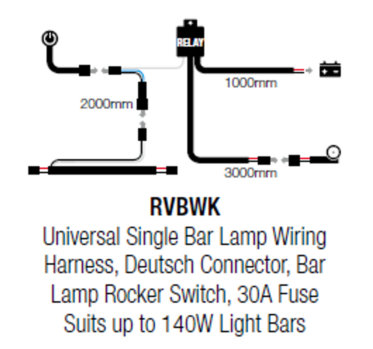 89RV18. RVBWK Wiring Loom Kit for Single Light Bar. Complete Kit, Plug on